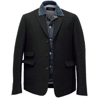 DSquared Men's Black Blazer with Denim Insert