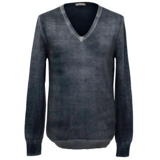 Bottega Veneta Mens Blue Grey V-Neck Sweater
