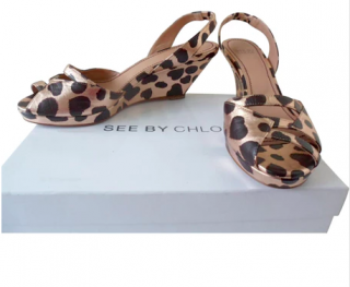 See by Chloe Leopard print leather sandals