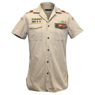 Dsquared2 Khaki Short Sleeve Shirt with Patches