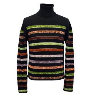 Jean Paul Gaultier Black Multi-Striped Branded Turtleneck