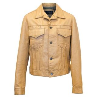 Armani Jeans Beige Leather Jacket