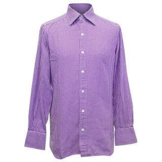 Tom Ford Men's Purple Dog Tooth Patterned Shirt