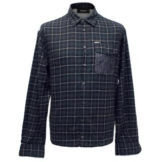 Dsquared2 Blue Plaid and Grey Jersey Button Up