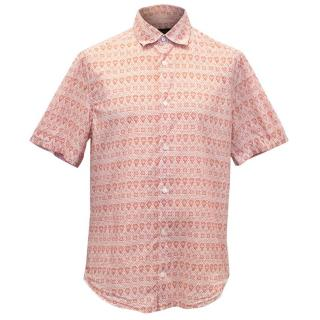 Louis Vuitton Red and White Pattern Short Sleeve Shirt