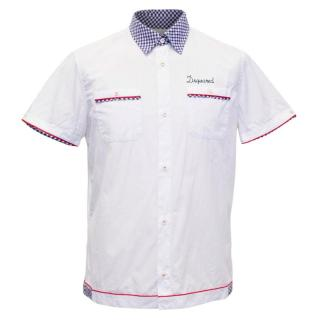 Dsquared2 White Button Up Short Sleeve Shirt with Blue Check