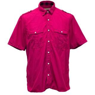 Burberry Brit Fuchsia Short Sleeved Button Up Shirt