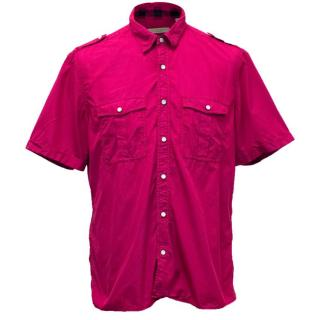 Burberry Brit Fuchsia Short Sleeved Button Up Shirt