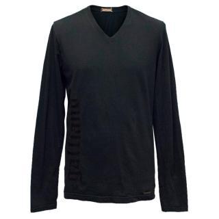 Galliano Mens Black Long Sleeve V-Neck Shirt