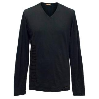 Galliano Mens Black Long Sleeve V-Neck Shirt