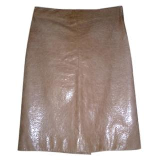 Miu Miu Nude Pink Catwalk Leather Skirt