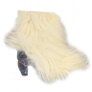 Chanel white fur and ice boots