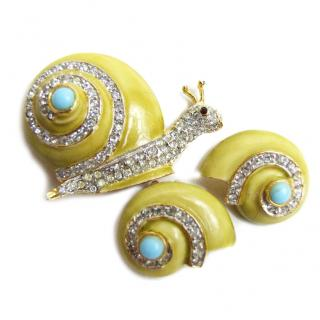 Rare 1960s Kenneth Jay Lane snail brooch & earrings set