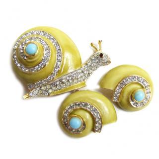 Rare 1960s Kenneth Jay Lane snail brooch & earrings set