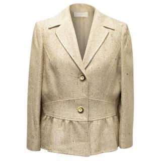 Valentino Roma Beige and Gold Peplum Jacket