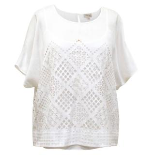 Temperley White Laser Cut Shirt with Matching Tank Top