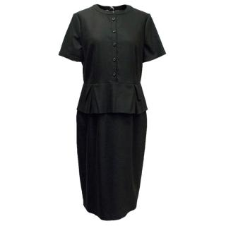 Burberry Black Woolen Peplum Dress