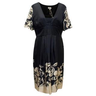 Temperley 'Amina' Orchid Print Short Sleeve Dress
