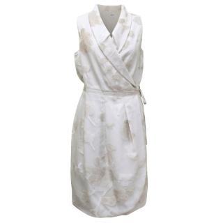 Armani Collezioni Silver Mesh Wrap Dress