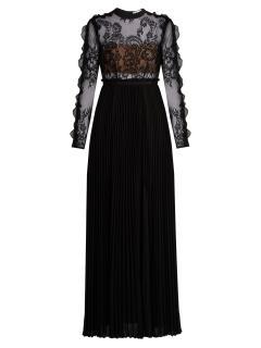 Self Portrait Moni lace and pleated-crepe maxi dress