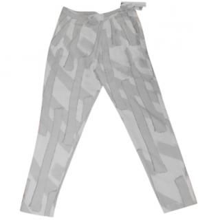 Calvin Klein Grey and White Tapered Trousers