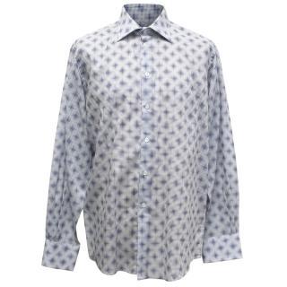 Richard James Men's Blue and White Patterned Shirt