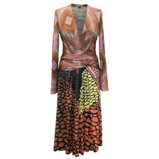 Issa Brown Multi Patterned Dress