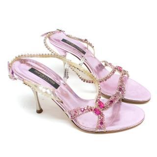 Sergio Rossi Purple Heeled Sandals With Diamantes
