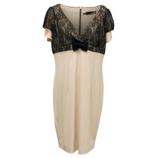 Love Moschino Beige Dress with Black Lace Overlay