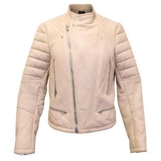Joseph Beige Leather Biker Jacket