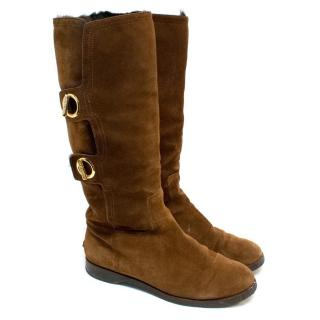 Jimmy Choo Brown Suede Boots with Gold Buckles
