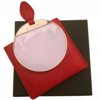 Bvlgari Mirror in Red Leather Pouch