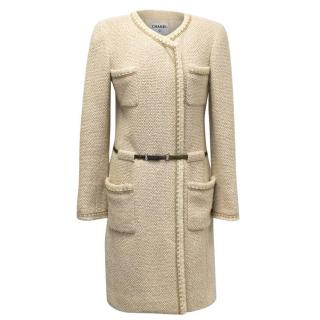 Chanel Beige Wool and Silk Tweed Coat