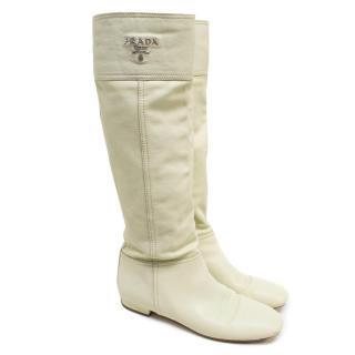 Prada Nude Leather Long Boots