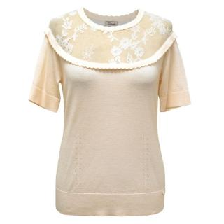 Temperley Short Sleeved Wool Blend Tee with Lace Detailing