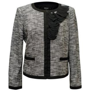 DKNY Grey Tweed Blazer with Black Details