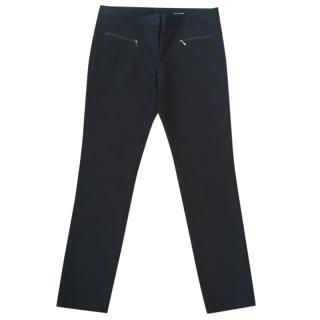 Club Monaco Emily black skinny stretchy pants with leather trim