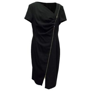 Escada Black Zip Detail Mid Length Dress