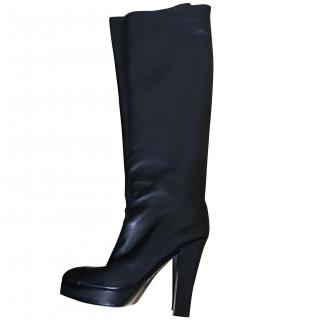 Chanel black lambskin over knee boots