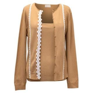 Valentino Brown Cardigan with White Embroidery & Brown Tank
