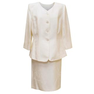 Armani Collezioni Cream Patterned Blazer with Matching Skirt