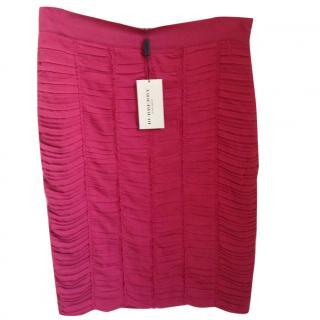 Burberry red silk skirt