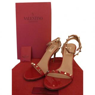 Valentino Red/Nude Rockstud Sandals
