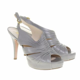 Prada Grey Heeled Sandals