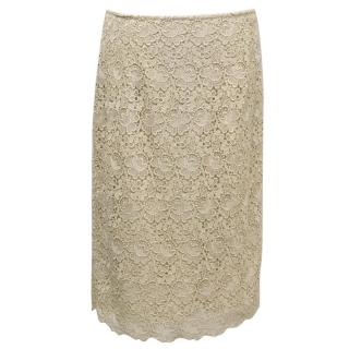 Valentino Beige Skirt with Gold Threaded Lace