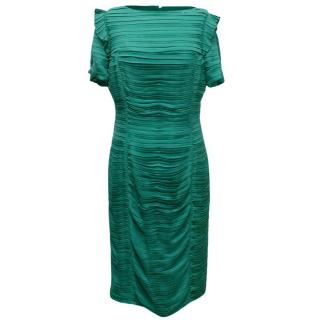 Burberry Green Ruched Dress