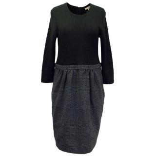 Burberry Brit Black Wool Dress with Grey Check