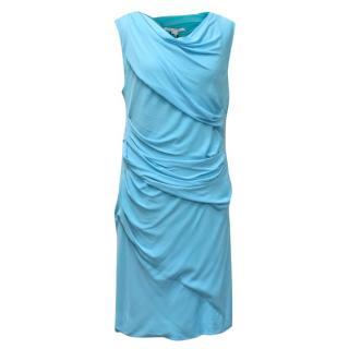 Diane von Furstenberg Blue 'Ameerah Long' Ruched Dress