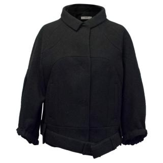 Prada Black Short Coat with Concealed Buttons