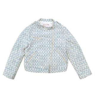 Bonpoint Girls Blue and White Patterned Jacket